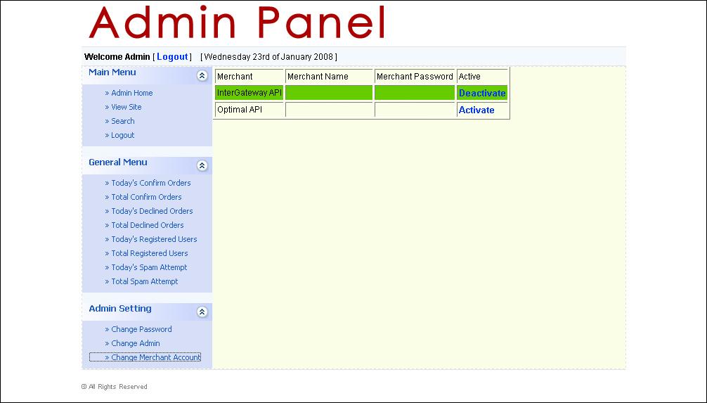 Admin Page Design